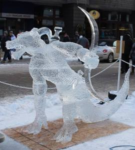 Ice Sculpture Lizard Man