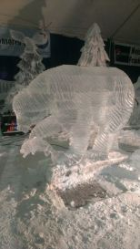 Bear Catching Fish Ice Sculpture