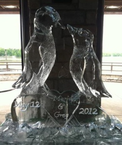Kissing Penguins Ice Sculpture with Names in a Heart
