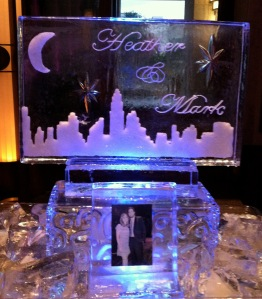 City Skyline Ice Sculpture with Engagement Photo