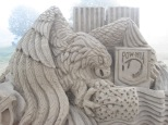 Sand Sculpture of Eagle and Flag