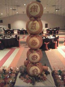 Pumpkins Stacked with Carved Letters