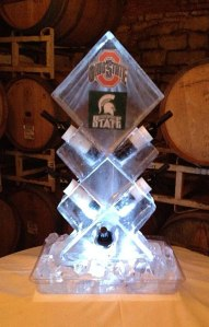 Bottle Holder Wedding Ice Sculpture Ohio State and Michigan