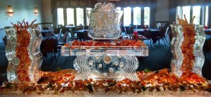 Seafood Ice Sculpture Display with Corporate Logo