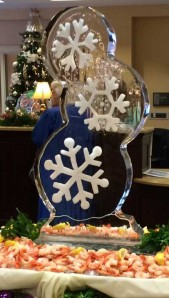 Triple Snowflake with Shrimp Ice Sculpture
