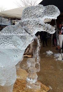 Everybody-Walk-Your-Dinosaur-Ice-Sculpture-Girl-and-Leash