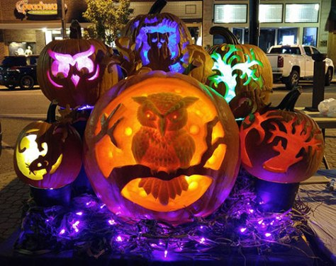 Pumpkin-Carving-Lighted-Owl-Display