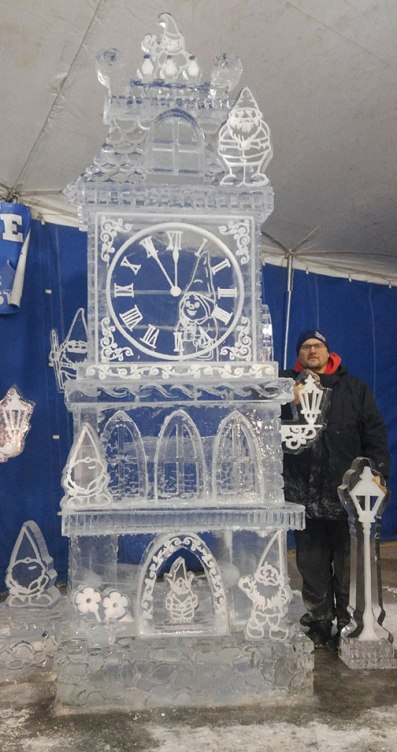 Ice-Sculpture-Clock-Tower-with-Gnomes-and-Greg-Butauski