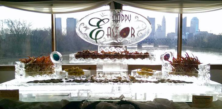 Happy-Easter-Ice-Sculpture-and-Seafood-Display